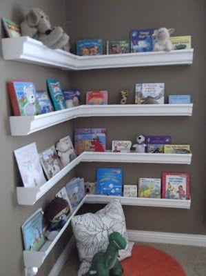 Rain Gutter Shelves.: Reading Corners, Boys Bookshelves, Books Shelves, Vinyls Gutter, Book Shelves, Boys Bookshelf, Great Ideas, Rain Gutter Shelves, Kids Rooms