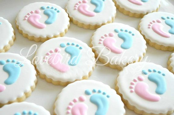 One dozen 12 Gender Reveal Cookies Baby Shower by LoveBirdBakery