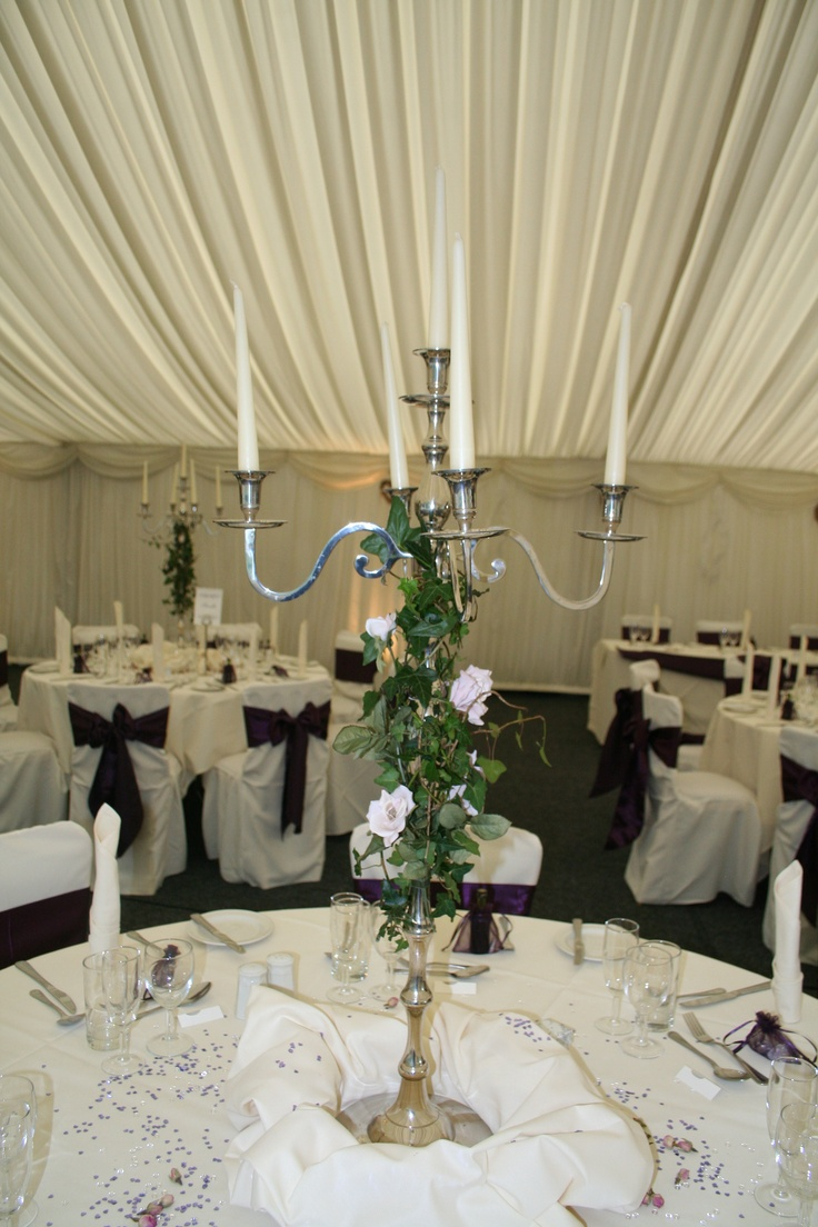 90cm 5 Arm Silver Candelabra - Perfect in any venue , dress up with Ivy & flowers