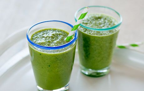 This refreshing smoothie packs a nutrient punch by combining leafy greens and herbs with cantaloupe, cucumber and almondmilk. We suggest sweetening it with a little honey, but you could also blend three or four pitted dried dates into the smoothie instead.