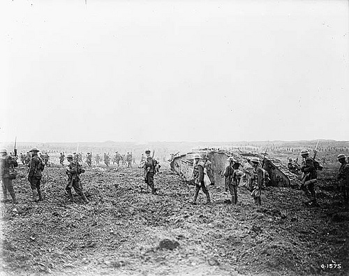 The taking of Vimy Ridge. Canadians advancing with a tank over 'No Man\'s Land'. July, 1917