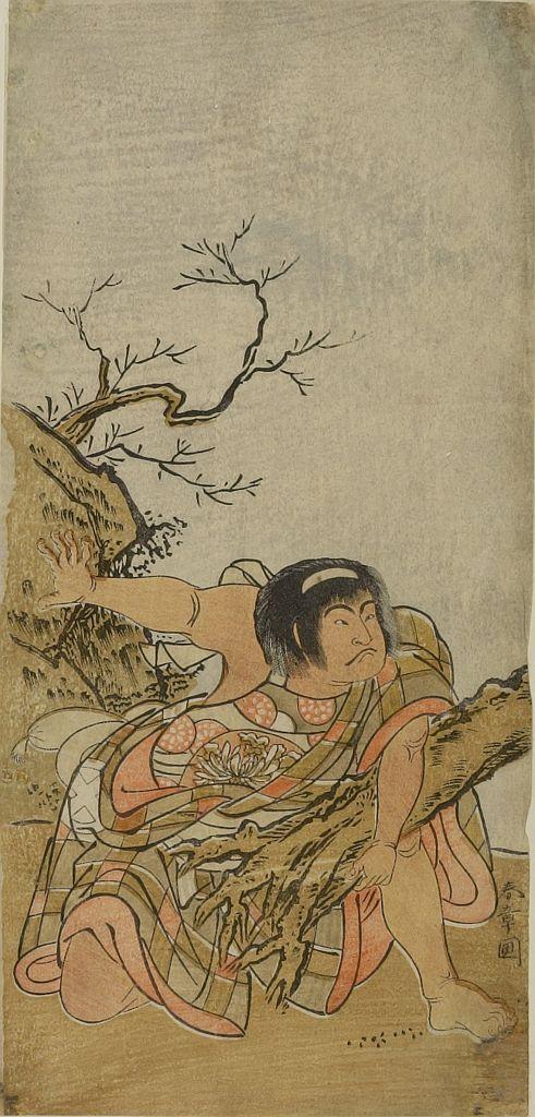 Katsukawa Shunsho: Actor Otani Hiroji 2nd AS KINTARO HOLDING AN UPROOTED TREE - Harvard Art Museum