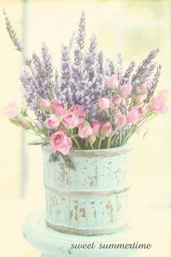 gorgeous bouquet and old blue container