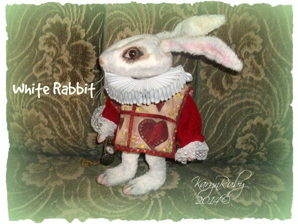 Alice in Wonderland ~ White Rabbit 10 inch Viscose or Mohair Vintage Style Bunny $17.00