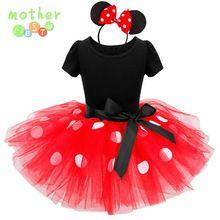 2017 El Más Nuevo Regalo de Los Cabritos Minnie Mouse Fiesta De Disfraces Cosplay Niñas Vestido de Minnie + Diadema 9M-6Y Infantil Ropa de Bebé rojo(China (Mainland))