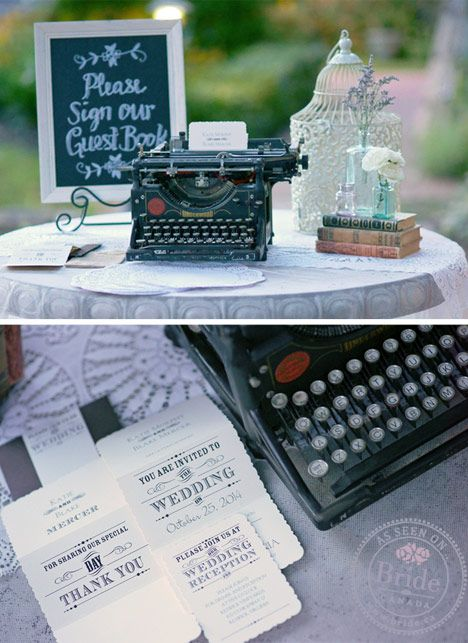 Wedding decor idea: Vintage typewriter at your guestbook table. As seen on BRIDE.Canada.