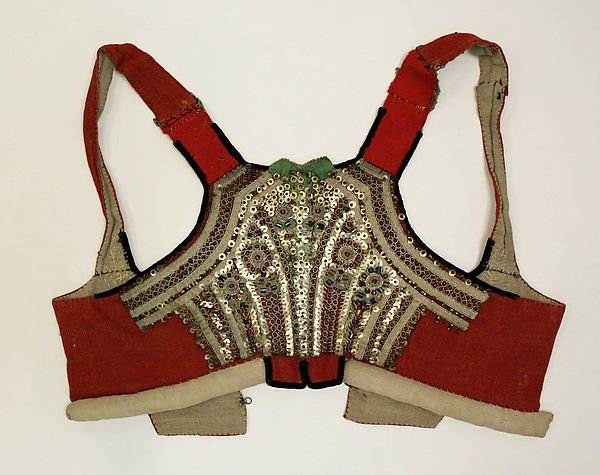 "late 19th-early 20th century, Czech, unspecified, Met Museum - note there's a ""bumroll"" attached to the bodice for supporting the skirt; the tails in the back would go over the skirt"