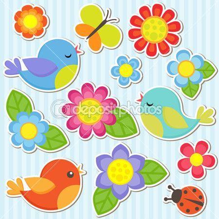 Conjunto de flores e pássaros — Ilustração de Stock #11149114