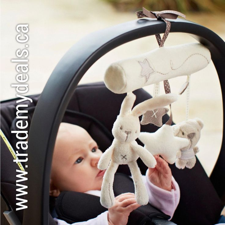 Rabbit baby music hanging bed safety seat plush toy Hand Bell Multifunctional