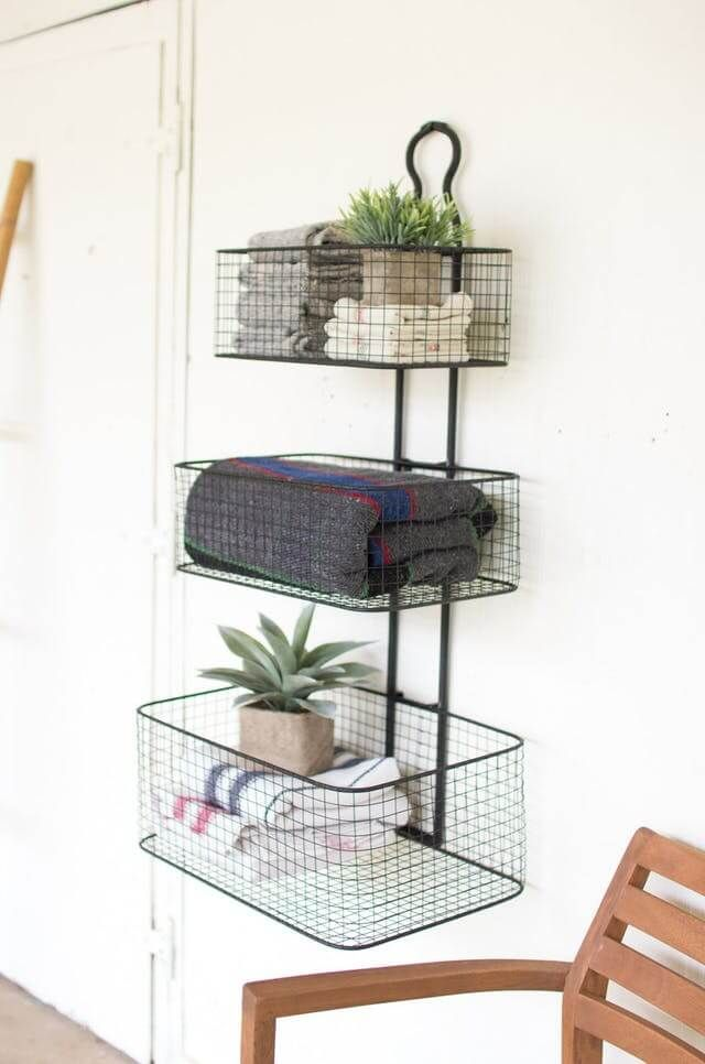 36 Industrial Home Decor Ideas That Will Make You Fall In Love With This Style Baskets On Wall Bathroom Wall Storage Metal Wall Basket