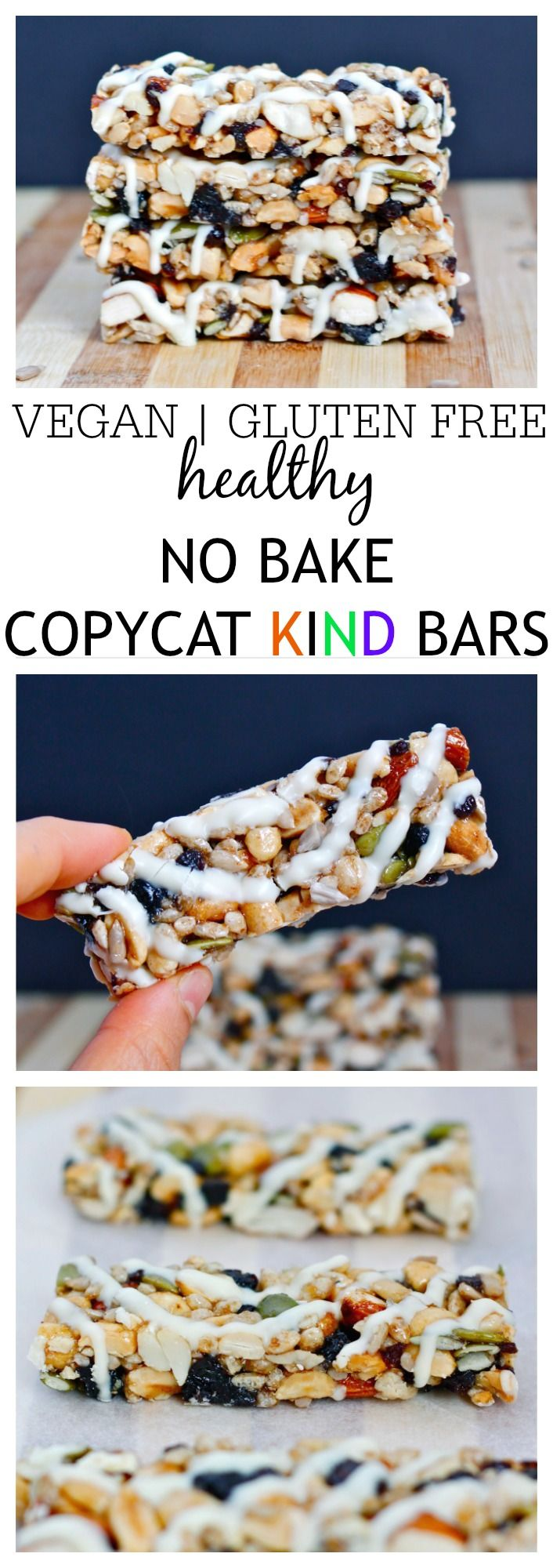 Healthy {NO BAKE} Copycat KIND Bars- These COPYCAT Kind Bars take 1 bowl and 10 minutes to whip up- They are also much cheaper than store bought and dare I say- More delicious than it's inspiration? Gluten free, vegan and with a protein optional boost! @thebigmansworld - thebigmansworld.com
