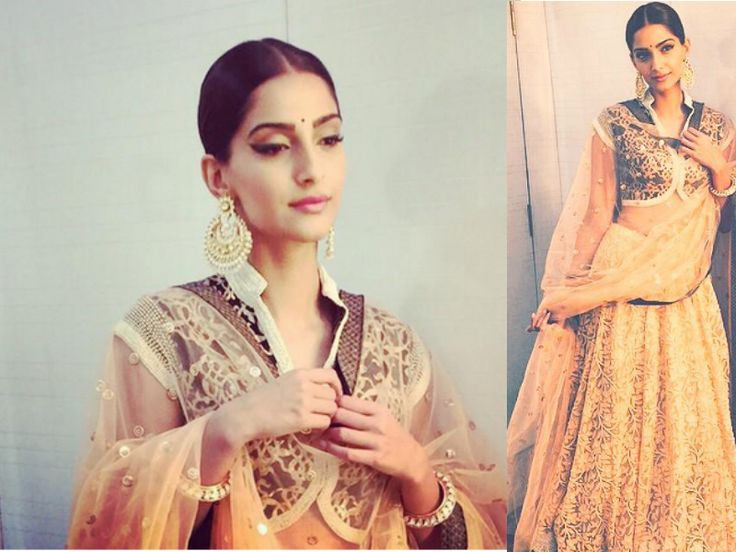 #Bollywood_Fashion Bollywood diva Sonam kapoor in Kotwara beige color lehenga at a reality show sets for the promotion of her upcoming movie Dolly Ki Doli.She looks fabulous in this lehenga.   #shakumbhari gives thumbs up for this look!  #fashion #fun