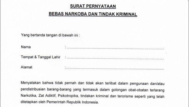 Format Surat Pernyataan Bebas Narkoba Dan Tindak Kriminal