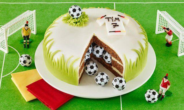 Fußball Überraschungskuchen, Essen beim Fußball Kindergeburtstag #Kindergeburt …   – Geburtstagskuchen und -torten