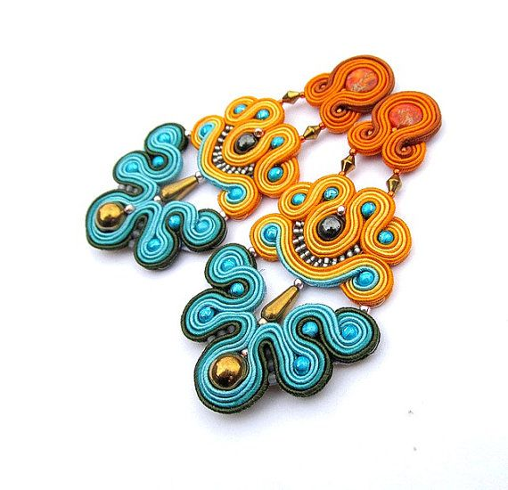 Long Clip On Earrings - Statement Soutache Earrings , Handmade Jewelry