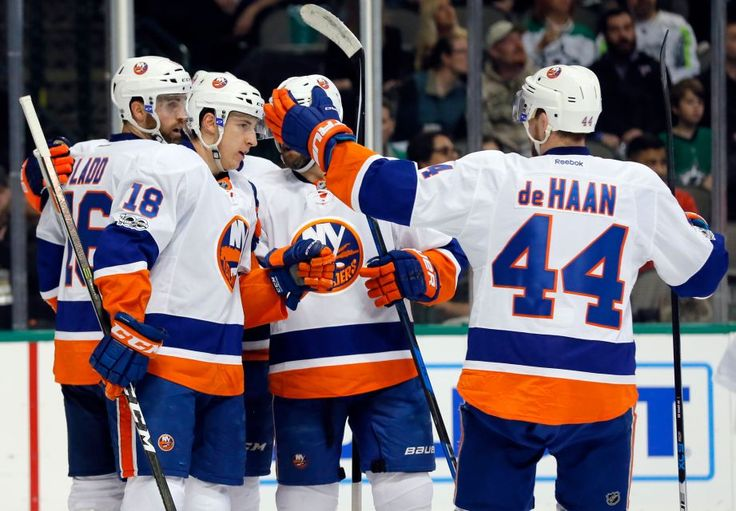 Islanders vs. Stars:  March 2, 2017  -  The Islanders beat the Dallas Stars, 5-4, on Thursday night at American Airlines Center in Dallas:  By NEWSDAY.COM  -      New York Islanders' Ryan Strome (18), Calvin de Haan (44) and Andrew Ladd (16) celebrate a goal by Ladd, with an assist from Strome, during the second period of an NHL hockey game against the Dallas Stars on Thursday, March 2, 2017, in Dallas.