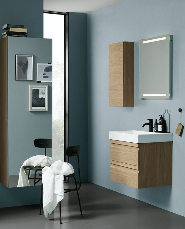 Vanity unit with classic integrated handles and tall unit with full size mirror.