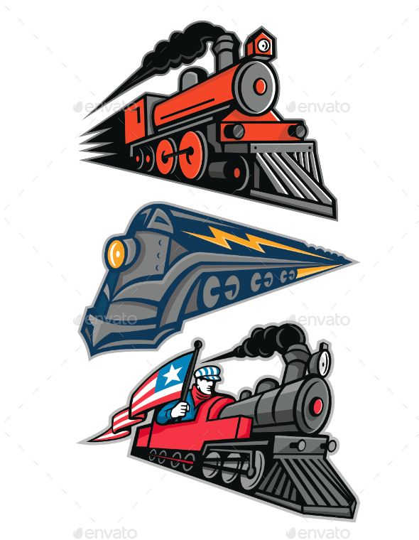 Vintage Steam Locomotive Mascot Collection Illustrator Inspiration Icon Illustration Train Art