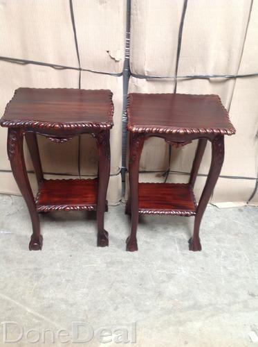 NEW Pair of mahogany lamp/plant tables