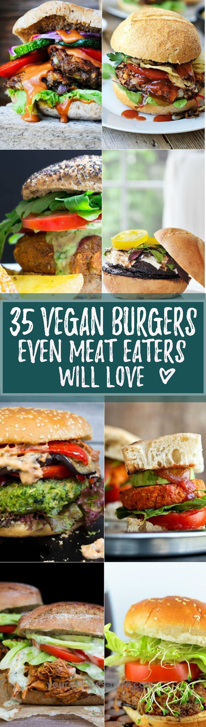 Check out this list of 35 totally drool-worthy healthy veggie burgers that are perfect for meat-lovers, vegetarians, and vegans alike! These vegan burgers are all AMAZING! ♥ |  veganheaven.org