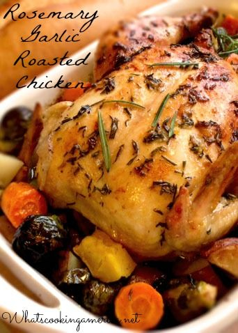 Roasted Rosemary Garlic Chicken with Carrots, Potatoes, Acorn Squash, and Brussel Sprouts