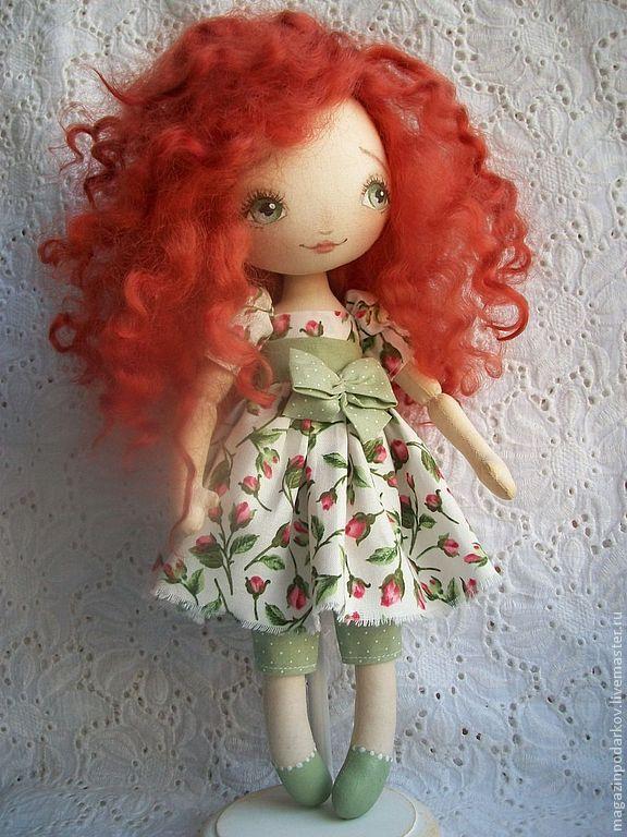Кукла Огонёк - рыжий,кукла в подарок,кукла текстильная,кукла интерьерная