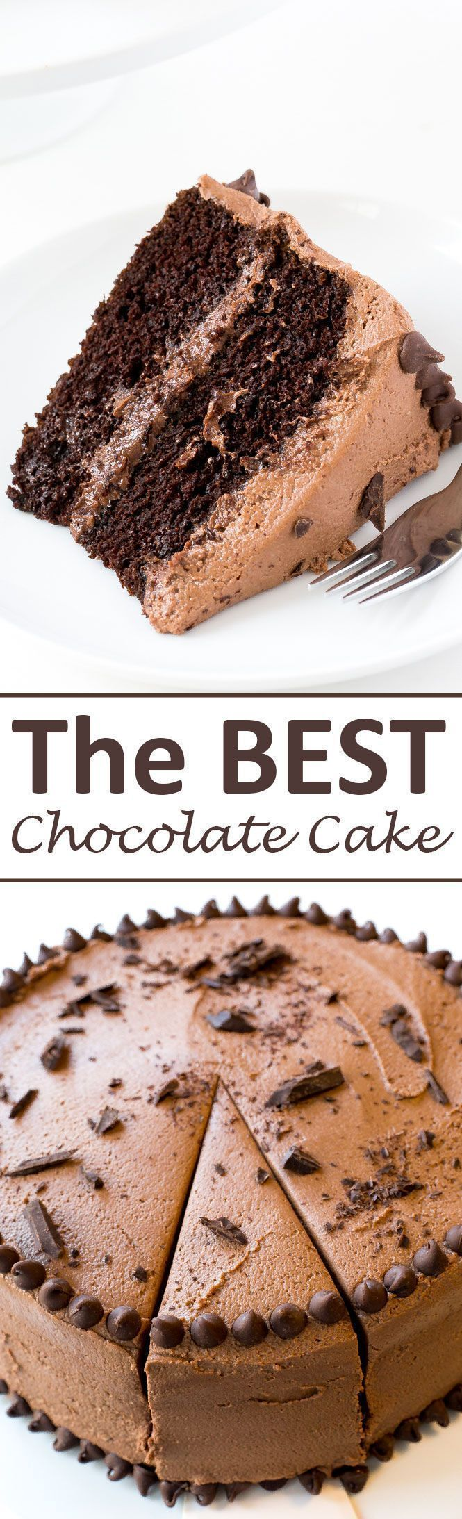 The BEST Chocolate Cake with Creamy Chocolate Buttercream Frosting! The perfect…