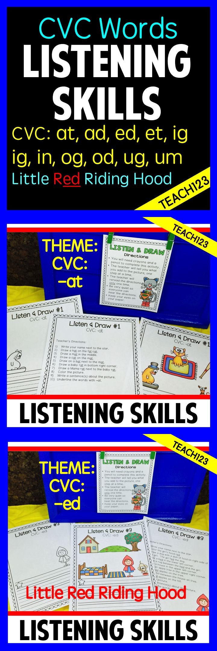 best images about a listening skills esl sub cvc word family listen and draw lessons cvc word family theme will strengthen students reading writing and listening skills