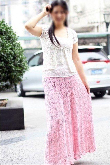 Вязаная длинная юбка