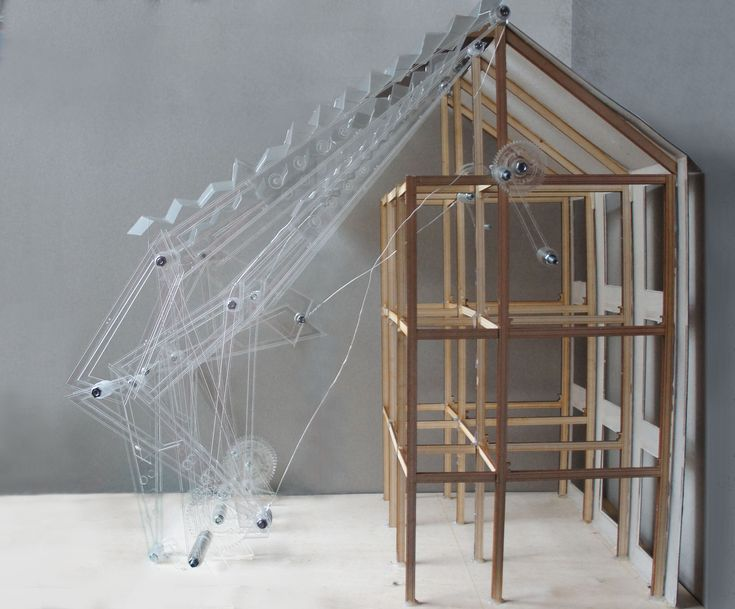 Architecture. Model of Interactive 'dancing' façade mechanism