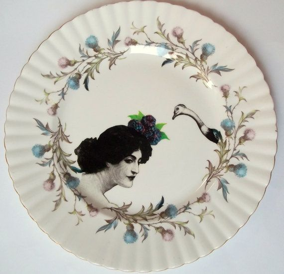 Create a talking point with this fabulous vintage Royal Albert bone china plate upcycled with & 143 best plates images on Pinterest | Dishes Dinner plates and Plate