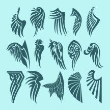 天使の羽根,鳥の翼,タトゥー,トライバル ベクターイラスト素材