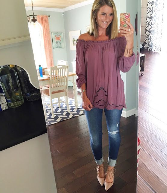 embroidered off the shoulder top with distressed jeans and bow heels
