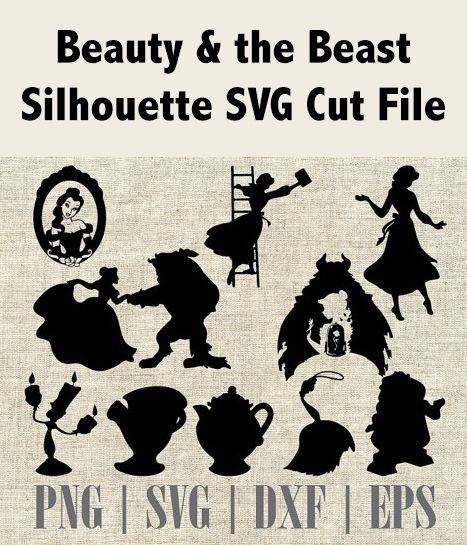 Beauty & the Beast Silhouette and Elements, SVG Cutting File, Printable, T-shirt Design, Scrapbooking Clipart, Disney Silhouette