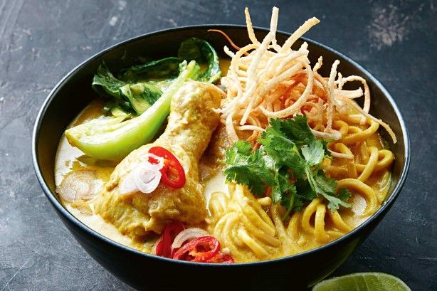"Marion's curry noodle soup (khao soi) - ""The north of Thailand is famous for this laksa-style soup traditionally called khao soi. The fragrant curry spices and creamy coconut milk broth make this the perfect dinner when it's cold outside"" - Marion Grasby"