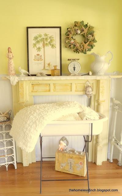 Transformed vintage mantel: Mello Yellow, Village Primrose Cottage, Buttercup Cottage, Sunflower Cottage, Mellow Yellow, Soft Yellow, Yellow Cottage, Sunshine Cottage, Sunny Yellow