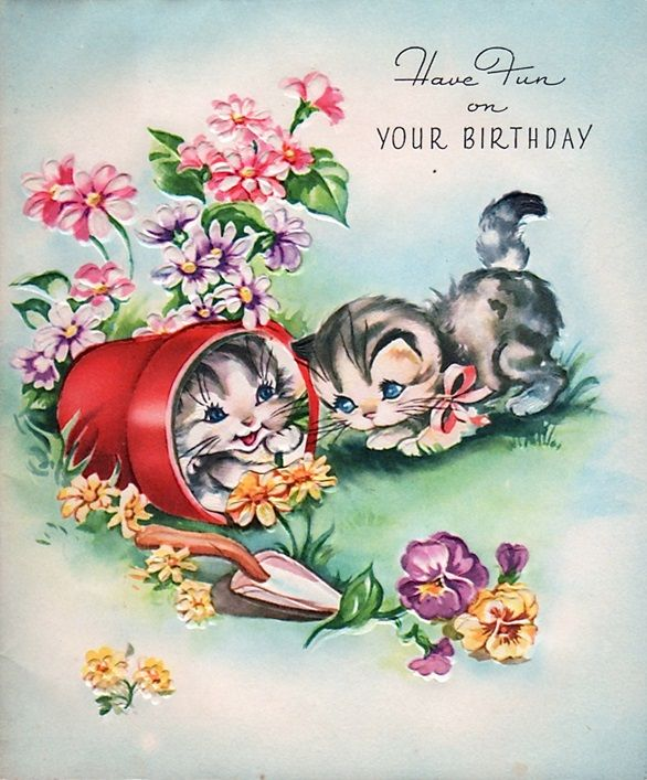 Vintage Birthday Card Kittens More