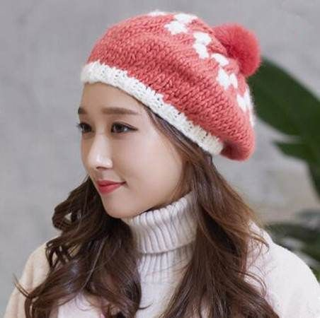 Pink knit beret hat with pom pom for girls winter hats