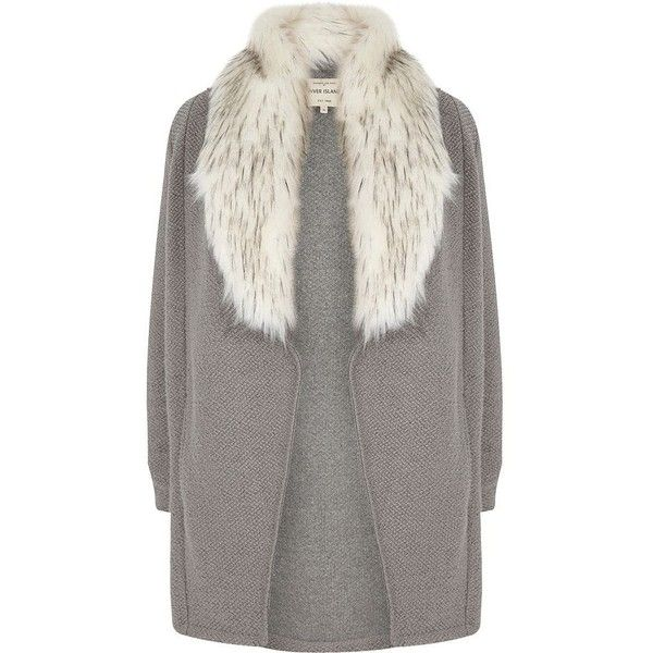 River Island Plus grey faux fur collar cardigan jacket (1,085 EGP) ❤ liked on Polyvore featuring outerwear, jackets, blazer, coats / jackets, grey, women, women's plus size blazers, women's plus size jackets, grey blazer and blazer jacket