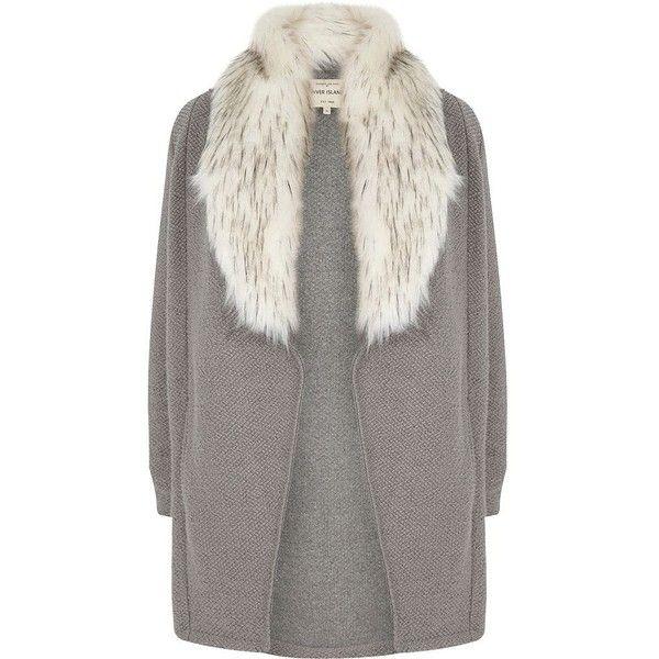 River Island Plus grey faux fur collar cardigan jacket (1,085 EGP) ❤ liked on Polyvore featuring outerwear, jackets, blazer, coats / jackets, grey, women, women's plus size blazers, women's plus size jackets, grey blazer and blazer jacket