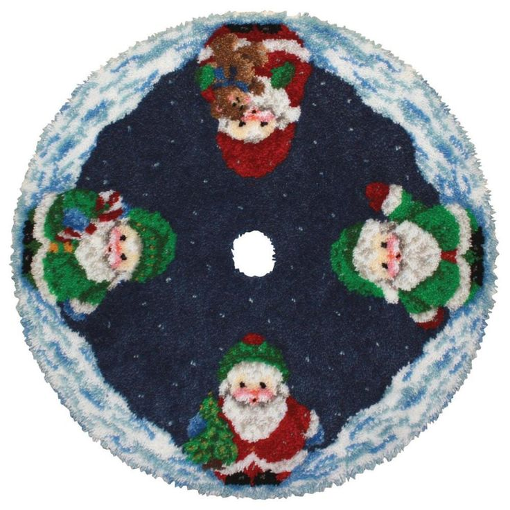 Latch Hook Kit 45 Round Roly Poly Santa Tree Skirt