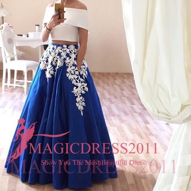 Charming Royal Blue Prom Dresses Formal Evening Gowns Arabic 2016 Special Occasion Dress A-Line Off-Shoulder White Appliques Party Celebrity Online with $107.44/Piece on Magicdress2011's Store | DHgate.com