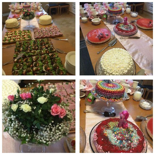 Aavan ristiäiset ja Ellin 4 vuotissyntymäpäivät Littoisissa. Kinuskikermakakku, Heidin tekemä mansikka juustokakku jossa päällä ruusuja Littoisten puutarhasta, Ellin suklaakakut poni teemalla.