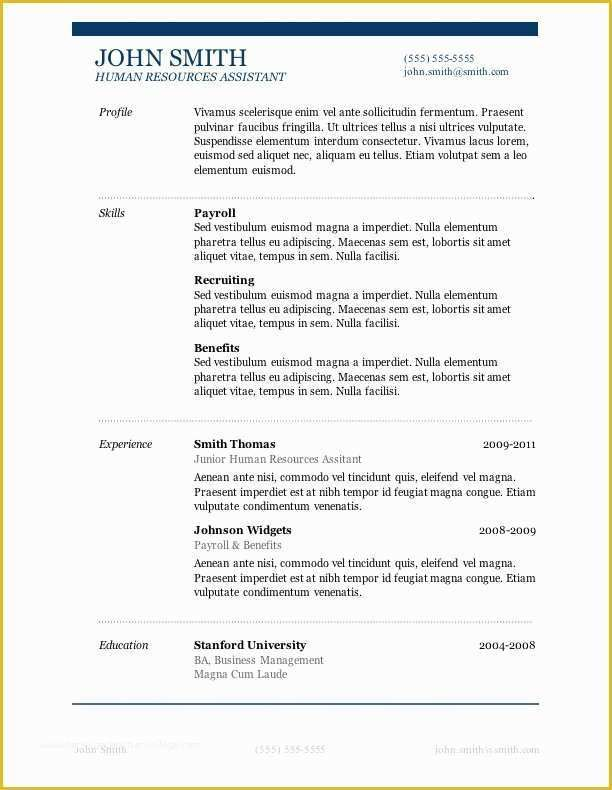 Resume Templates Free Download For Microsoft Word Of 50 Free
