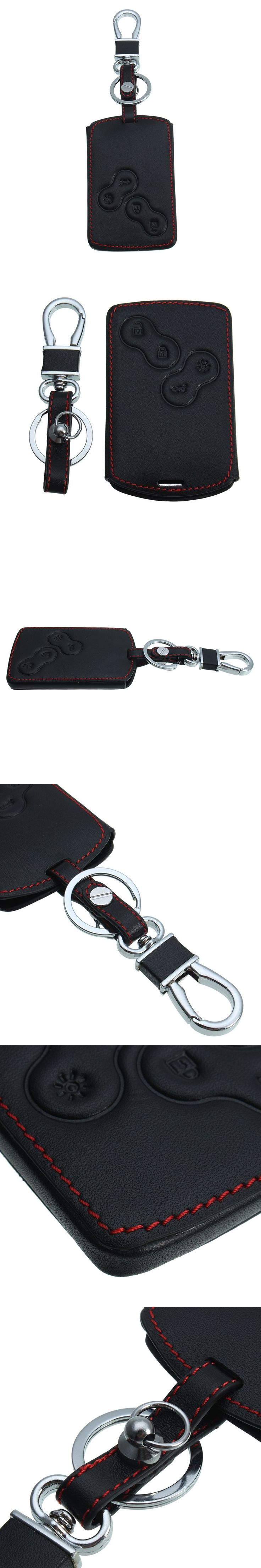 New Leather Key Case Cover Holder with Keychain For Renault Koleos Laguna 2 3 Megane 1 2 3 Sandero Scenic Captur Clio Duster