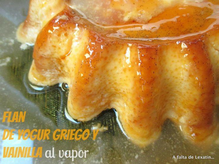 Flan de yogur griego y vainilla al vapor