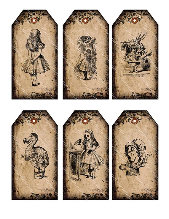 INSTANT DOWNLOAD Alice in Wonderland tags by VectoriaDesigns, $2.80