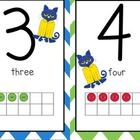 This is a Pete the Cat Chevron Number Line including numbers 1-20.   Each number has a Chevron background alternating the following colors:  red,  ...