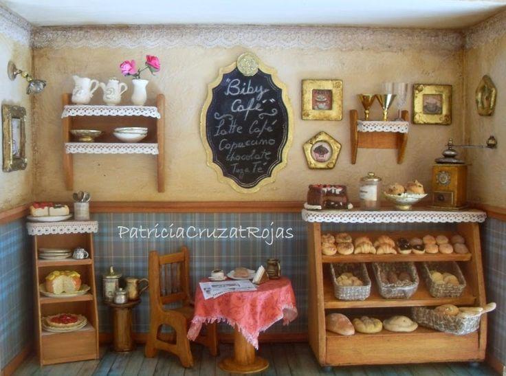 Patricia Cruzat Artesania y Color: Gran Cuadro Café Pub, panadería, pastelería, con Miniaturas