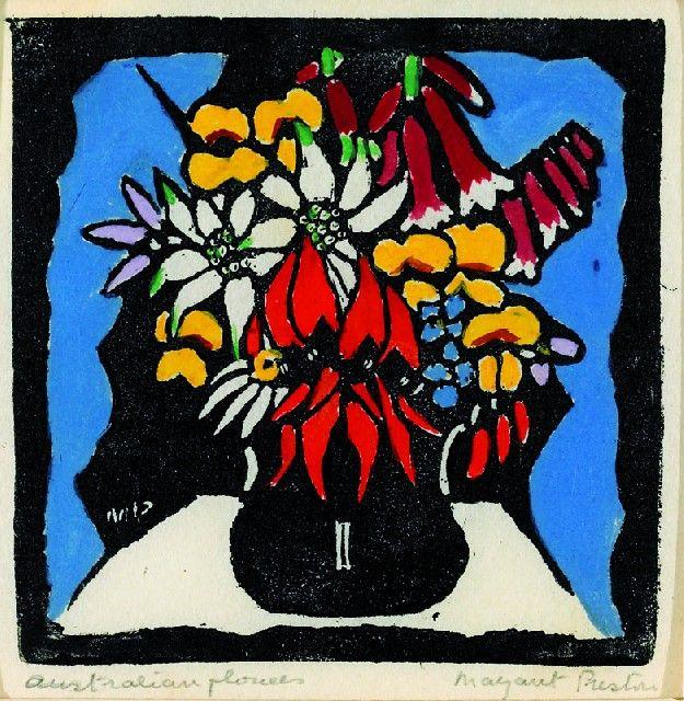 Margaret Preston Woodblock 'Australian Flowers' 1927